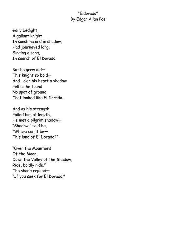 El Dorado by Edgar Allan Poe | Inspiration | Pinterest ...