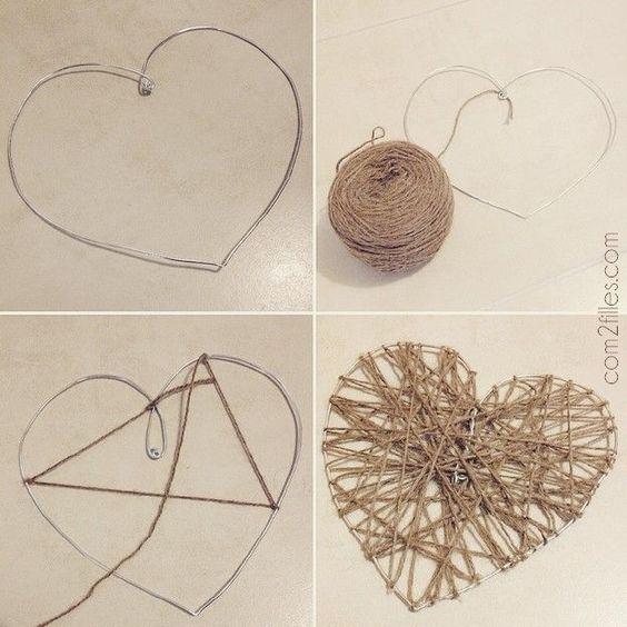 le tuto pour cr er un c ur en laine et fil alu. Black Bedroom Furniture Sets. Home Design Ideas