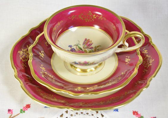 Philip Rosenthal & co. Kronach, Germany set/ rosenthal tea cup and saucer/ rosenthal dessert plate $154.00 etsy