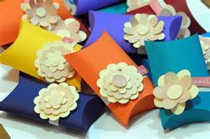 colorful flower box favors