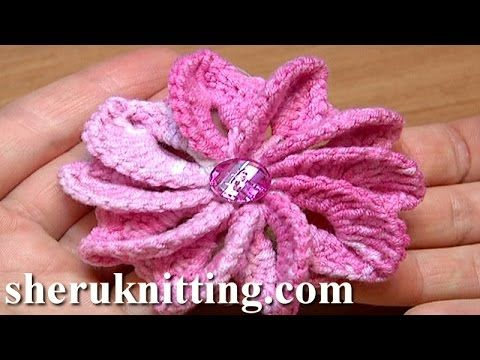 How To Crochet Flower Asymmetrical Petals Tutorial 43 Egzotyczny kwiatek - YouTube
