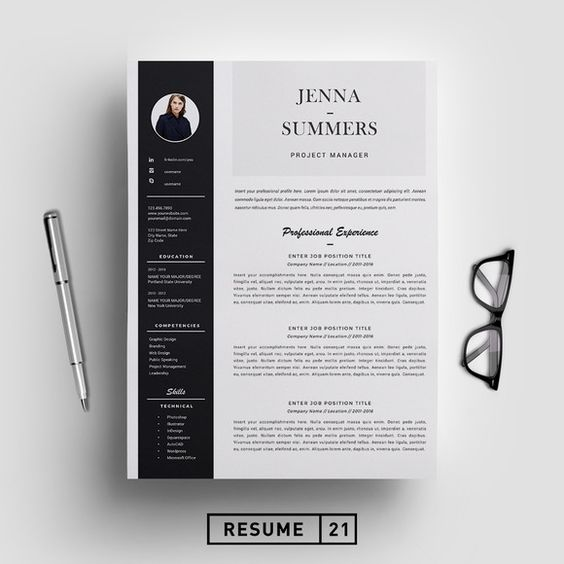 Resume Template / CV Template by Resume21 on @creativemarket