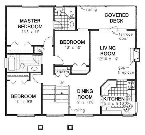 Just Under 1100sq Ft 3bd 2 Bath Open Up The Kitchen Wall As An Island Put The Sink In The Island And Put A In 2020 Square House Plans House