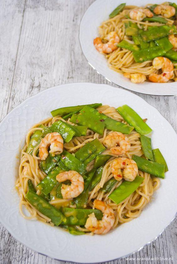Pasta met romige garnalen - Season with love