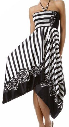 Was $49.99 now only $29.99 for this Striped Satin Feel Beaded Halter Smocked Bodice Handkerchief Hem Dress. Click on pic for more info...