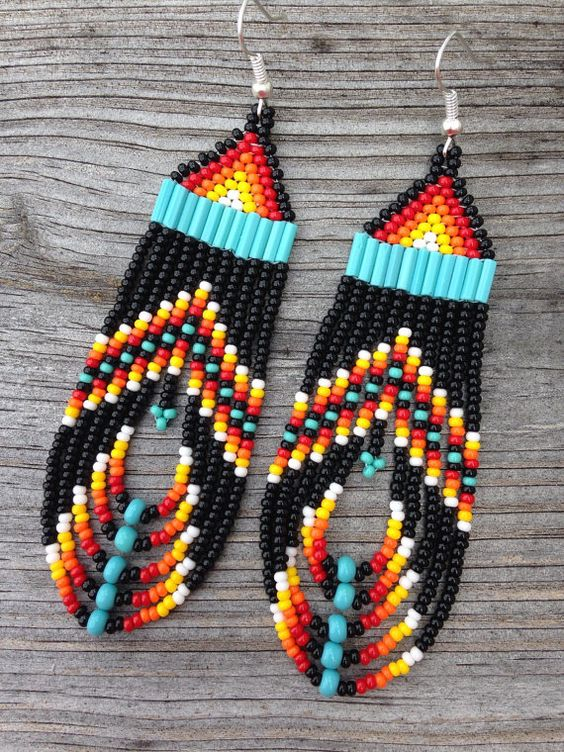 Native american style black multi colored beaded earrings for How to make american indian jewelry