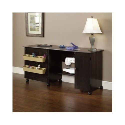 Rolling wood crafts sewing table cart desk cabinet storage for Rolling craft table with storage