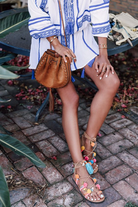 Patchwork dresses and embellished, colorful sandals make for festive and bohemian Summer ensembles.: