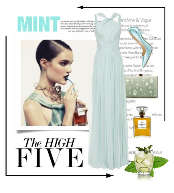 """""""Mint at High Five"""" by conch-lady ❤ liked on Polyvore featuring H&M, Chanel, Elie Saab, Lacava and Jimmy Choo"""