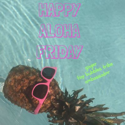 happy aloha friday from ginger tiny bubbles online boutique and popup shop brand ambassador.  she likes oyster pearl lipgloss by MAC, pink grapefruit and gilligan's island :) photo by tiny bubbles graphics by snappy