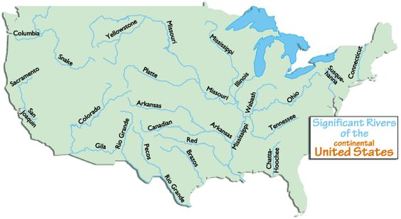Continental Usa Rivers Homeschool Social Studies Geography - Continental united states map