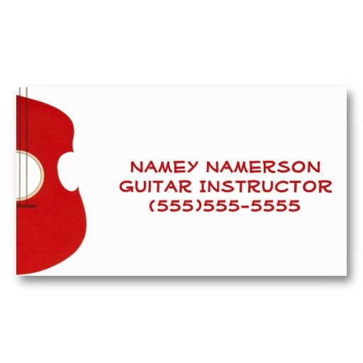 Retro guitar graphic red musical instrument design business card reheart Images