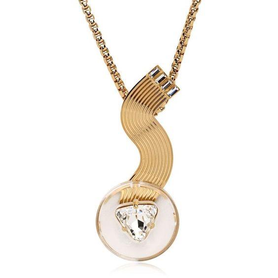 Valentina Brugnatelli Women Tiffany Necklace ($605) ❤ liked on Polyvore featuring jewelry, necklaces, transparent, swarovski crystal jewelry and swarovski crystal necklace