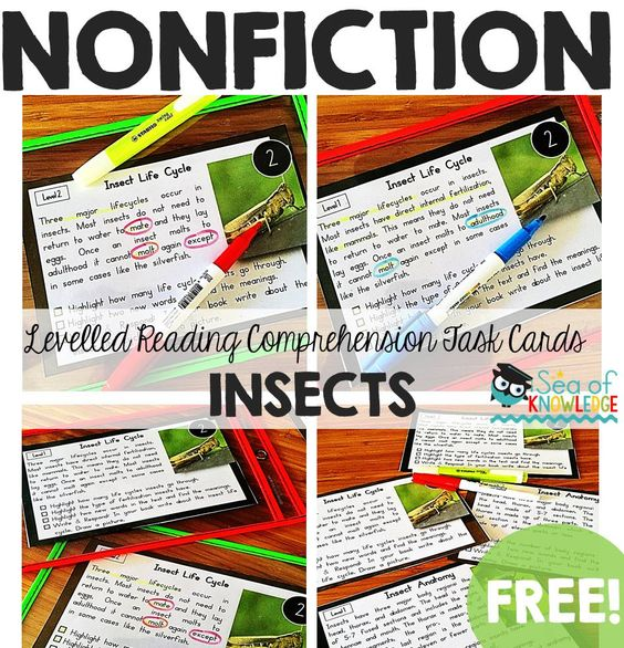 This pack would make a good addition to your science unit on insects. I created it for reading & comprehension fluency. These cards are non-fictional passages about insects. There are six cards in total with two levels. Level 1 is of grades 1-3 reading level and level 2 is of K-1 reading level. FREE: