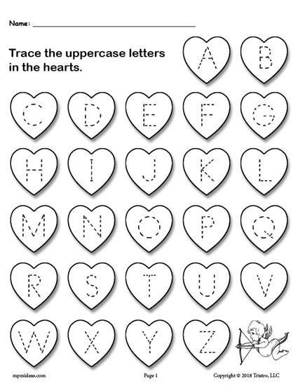 Free Printable Valentine S Day Uppercase Alphabet Letter Tracing Worksheet Alphabet Worksheets Preschool Valentine Worksheets Preschool Valentines Worksheets Valentine worksheet for kindergarten