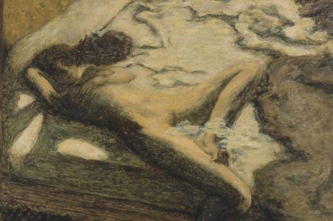 """""""L'indolente"""" de Bonnard 1899, musée d'Orsay. Oeuvre essentielle de Bonnard qui avec talent a crée cette atmosphère érotique. Point de vue plongée assez rare. Une position offerte au regard."""