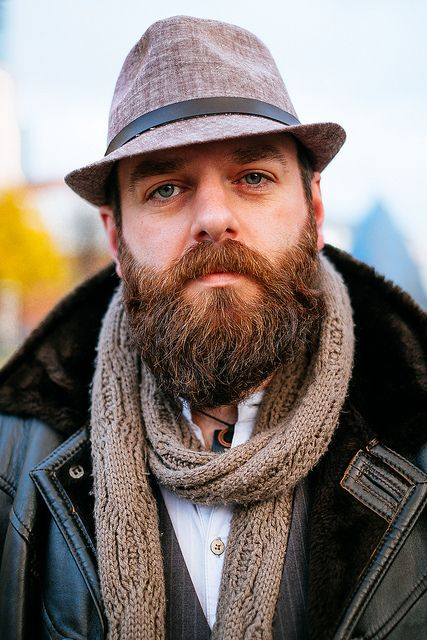 Nice shearling jacket & a sexy beard!