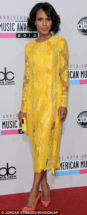 Kerry Washington foi maravilhosa em canário Stella McCartney #AMA2012 #HauteCouture #RedCarpet