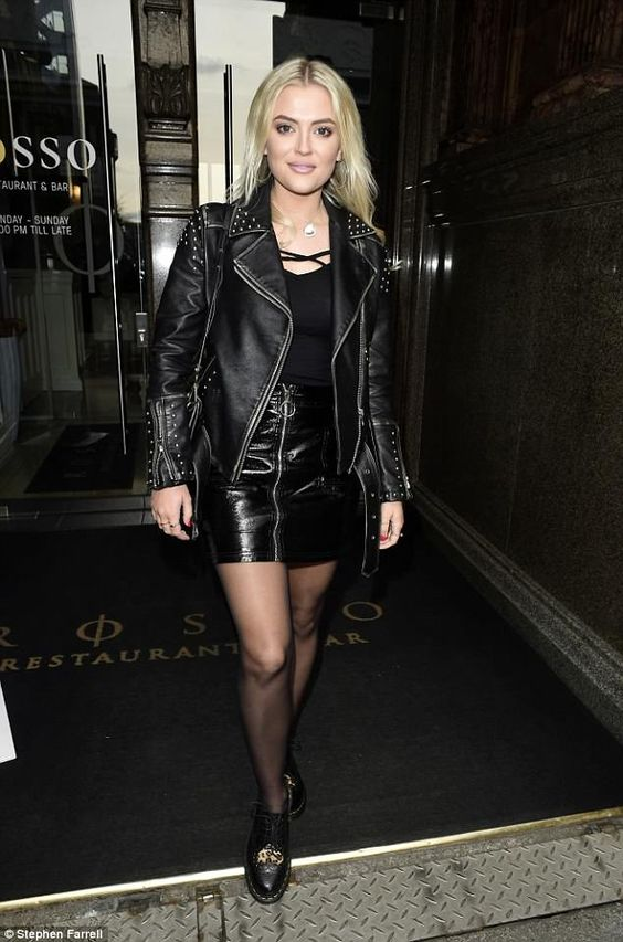 Lucy Fallon Nails Rocker Chic As On A Lunch Date With Beau Tom Leather Mini Skirts Leather Jacket Girl Leather Fashion