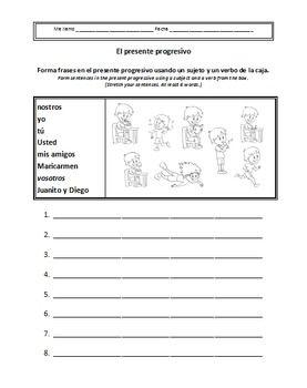 Worksheets Present Progressive Spanish Worksheet present progressive spanish worksheets tense worksheet 8 16 spanish