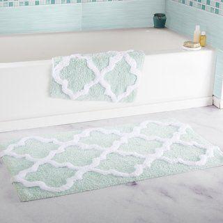 Windsor Home 100 Percent Cotton 2 Piece Trellis Bath Rug Set Blue Bathroom Rugs Bathroom Rug Sets Bath Mat