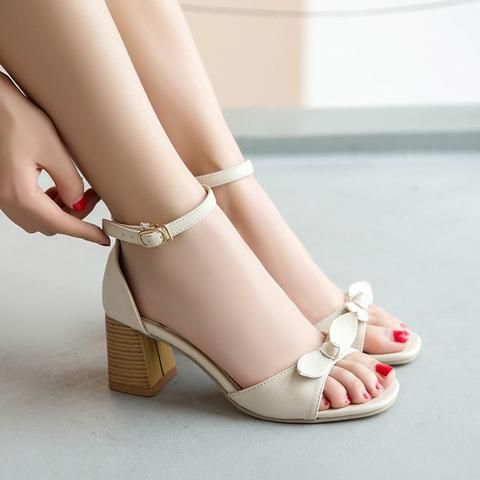 Ankle Strap Buckle Women Sandals Thick Medium Heeled 5cm Butterfly Knot Pink Summer Cool Shoes Woman Heels Medium Heel Shoes High Heel Boots Ankle