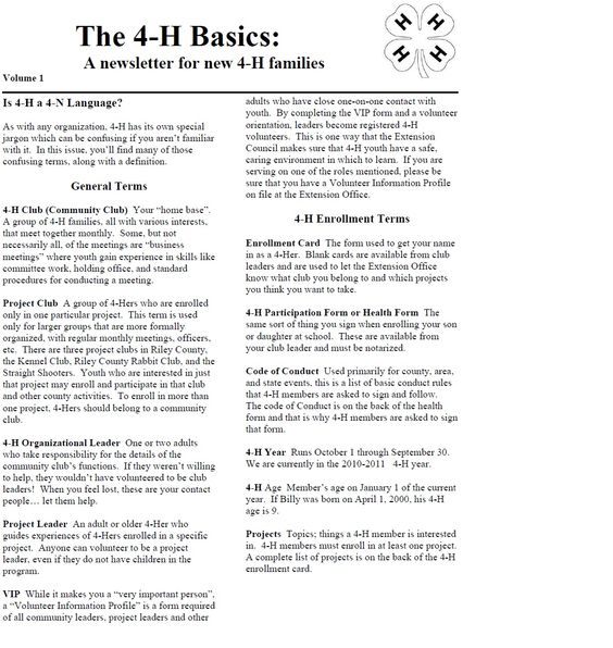 the 4 h basics a newsletter for new 4 h families for the full newsletter please click on the. Black Bedroom Furniture Sets. Home Design Ideas