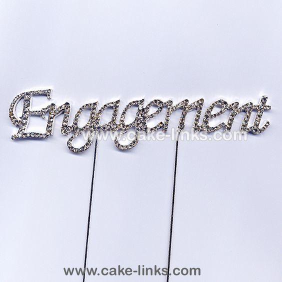 Diamante Engagement wording cake decoration