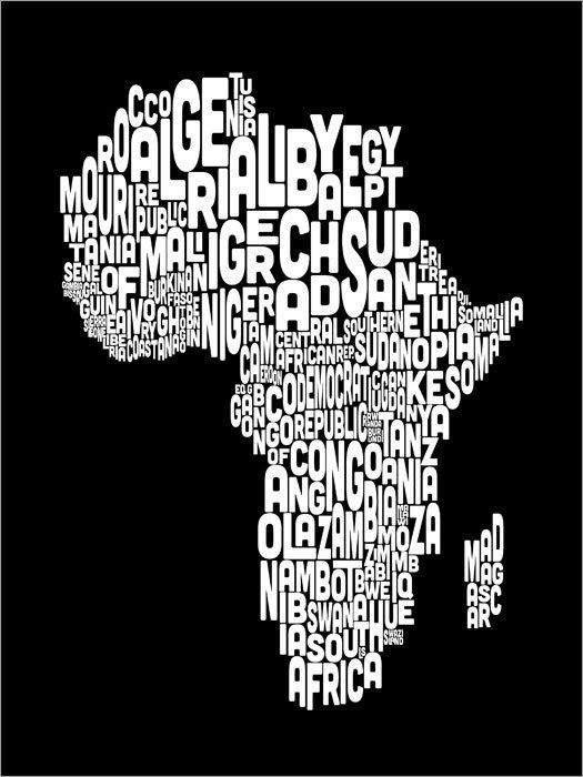 Typography map of africa map text art print color options 774 map of africa map text art fine art giclee photographic print at artist rising artist rising is the premier destination for discovering original art gumiabroncs Images