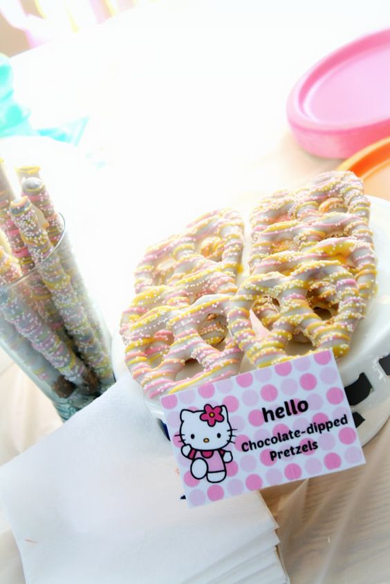 """Buy online on Etsy! Custom, Elegant & Delicious! Gourmet White Chocolate dipped Pretzels great for Spring parties, an """"Oh, the Places You'll Go"""" themed Baby Shower or Birthday, Hello Kitty themed birthday or any event needing a cheerful bright touch of desserts!"""
