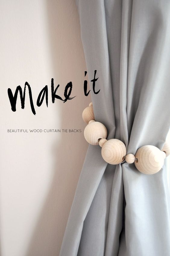 DIY curtain tie-backs made from wooden balls and string. Scandi style, minimalist and cute.