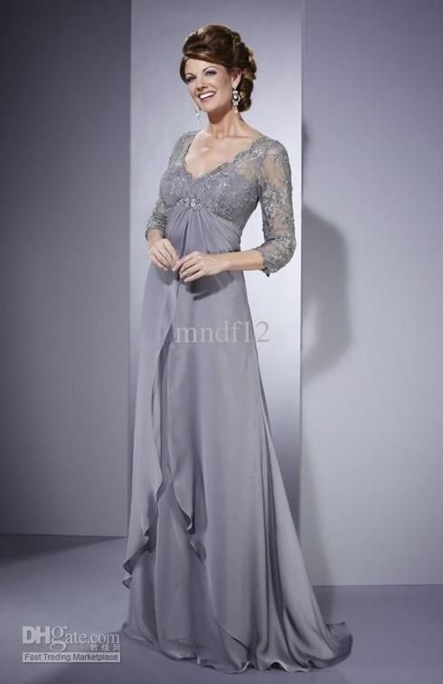 Beautiful Gray 3/4 Sleeve Wedding Mother of the Bride Dresses ...