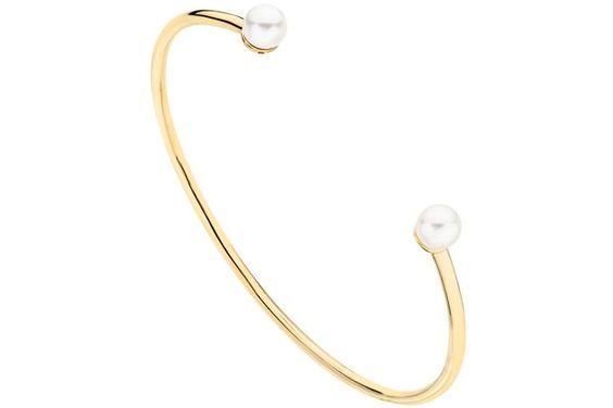 Bracelet manchette Equilibre plaqué or 18K, perle, Ø60mm Altesse