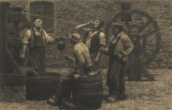 The Wine Press by Leon Augustin L'Hermitte (1844-1925)