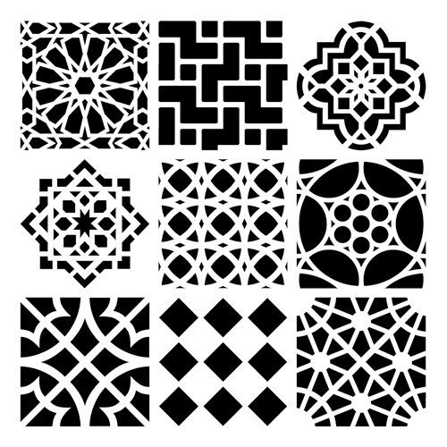 """Mini Moroccan tiles 6 x 6 stencil. BLACK sections in image are the open sections. Each tile square is about 2"""" x 2"""". $5.62  An idea!"""