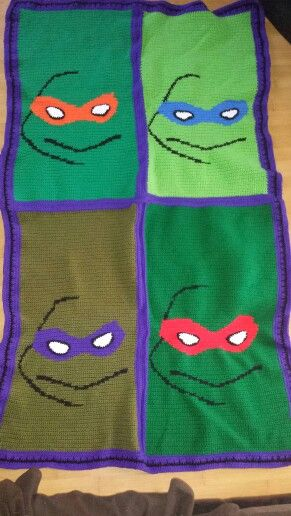 Crochet Pattern For Ninja Turtle Blanket : Crochet ninja turtle blanket Crocheting Pinterest ...