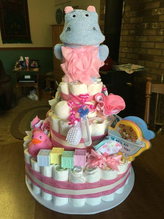 Bathtime Baby Girl Diaper Cake