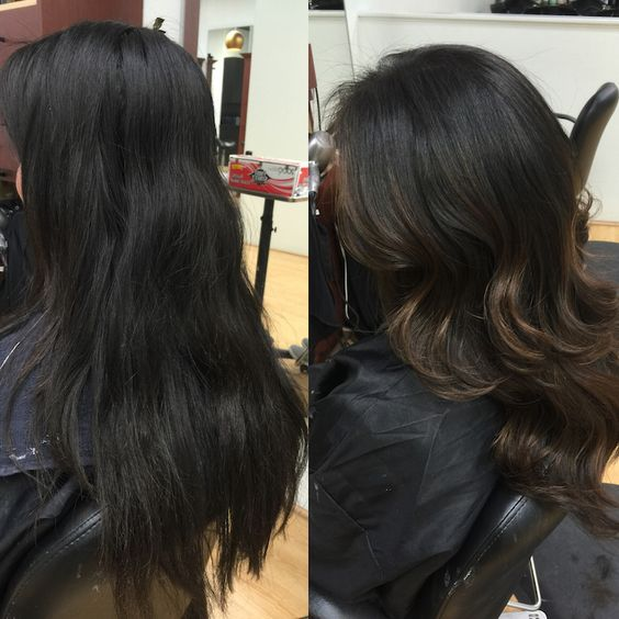 Redlands Hair Stylist Black Hair with Dark Brown Ash Balayage Highlights by Emily Cain