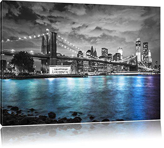 new york skyline am abend schwarz weiss format 60x40 auf leinwand xxl riesige bilder fertig gerahmt mit keilr at night city wallpaper 160x80 posterdruck