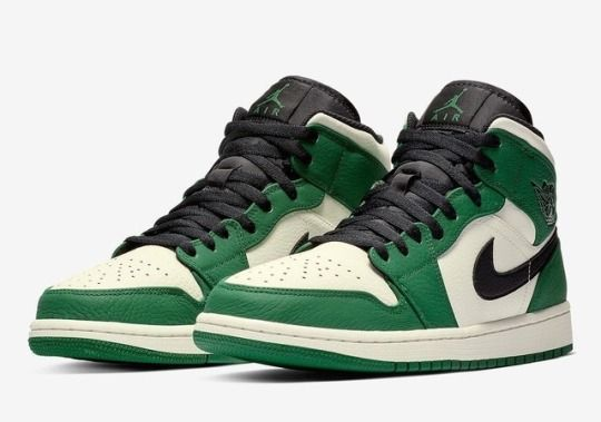 Air Jordan 1 Mid Pine Green Celtics Fansnike Sneakerando The Sneakers Shop Air Jordans Nike Air Jordans Hype Shoes