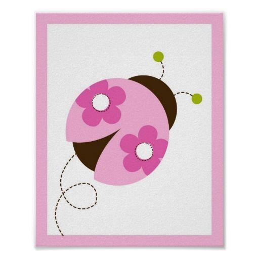 Pink Ladybug Flower Nursery Wall Art Print
