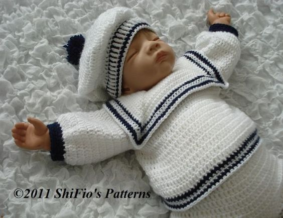 Free Knitting Pattern Baby Sailor Hat : Details about CROCHET PATTERN for BABY BOY SAILOR TOP, TROUSER & HAT 0-3,...