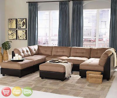 Claude Contemporary U Shaped Two Tone Tan Brown Modular