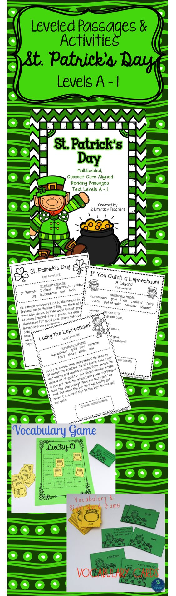 Worksheet Levelled Reading Passages st patricks day ccss aligned leveled reading passages and activities perfect for differentiation your whole class