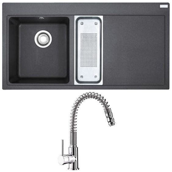 Astini HK12 Tap & Franke Mythos 1.5 Bowl Black Granite Kitchen Sink MTG651-100