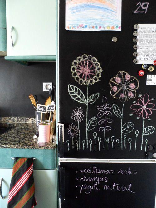 peindre le frigo pour en faire une grande ardoise et. Black Bedroom Furniture Sets. Home Design Ideas