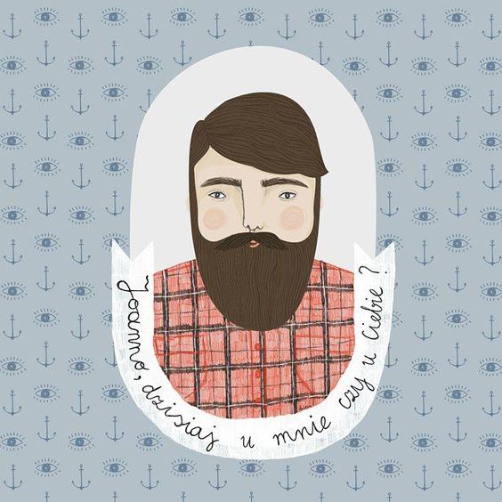 Chłopak dla @joanna_it ! #idealny #pomocny #radosny #brodacz! Bo Joanna zasługuje na najlepsze!:) #hihi #boy #boyfriend #bf #beard #illustration #binisillustrations #handsome #pattern #anchor #eyes #kotwica #doodle #broda #art #gift