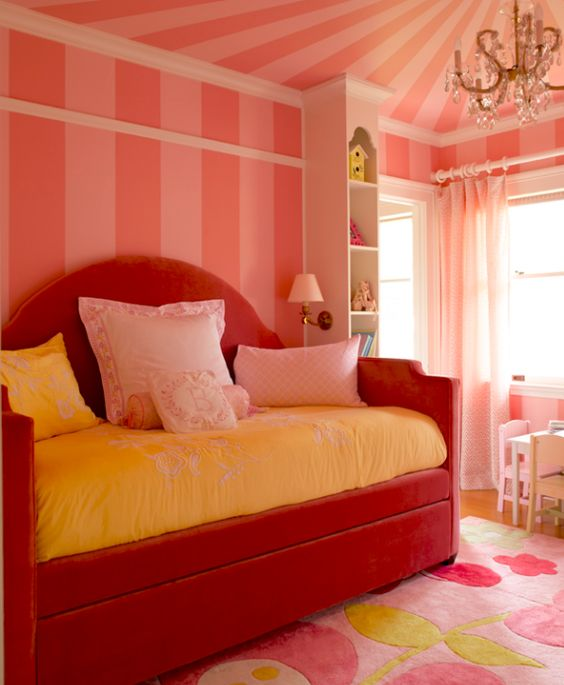 Girl 39 S Bedroom With Pink Striped Walls And Upholstered Daybed Design By Graciela Rutkowski
