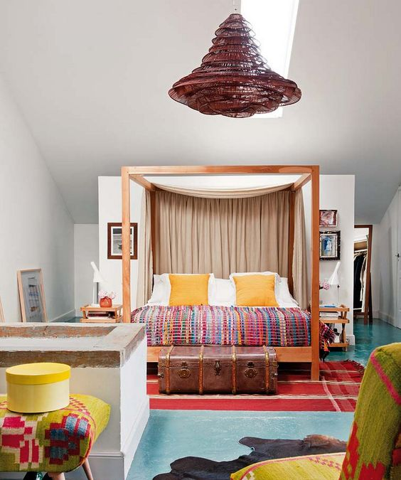 How to contrast pops of colors and neutrals // Bedrooms: