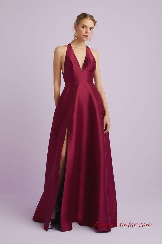 2020 Oleg Cassini Abiye Modelleri Bordo Saten Uzun Askili V Yaka Yirtmacli Resmi Elbise The Dress Elbise Modelleri